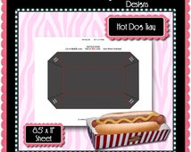 Hot Dog Tray Template Instant Download PSD and PNG Formats (Temp545) Popcorn Box Digital Bottlecap Collage Sheet Template