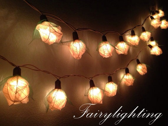 Hanging String Lights In A Bedroom : String lights-35 white color rose fairy flower by fairylighting