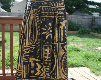 Black and gold tribal maxi skirt