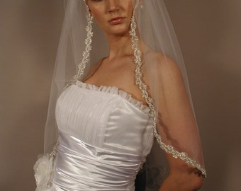 "Wedding veil with silver trimm, pearls, sequins and cystal. Brial veil 32"" length"