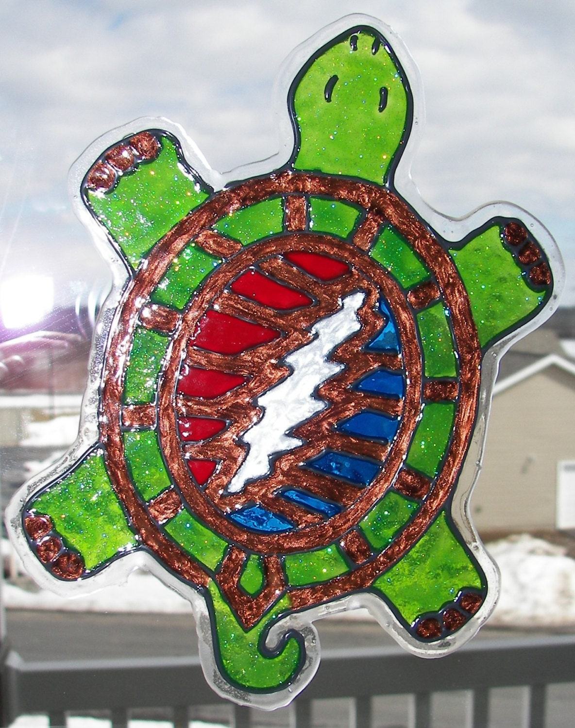 Grateful Dead Terrapin Station Turtle Faux Stained Glass