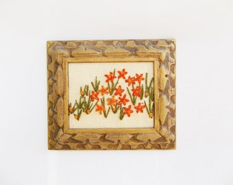 A Crewel Flower Cluster Embroidery Wall Art