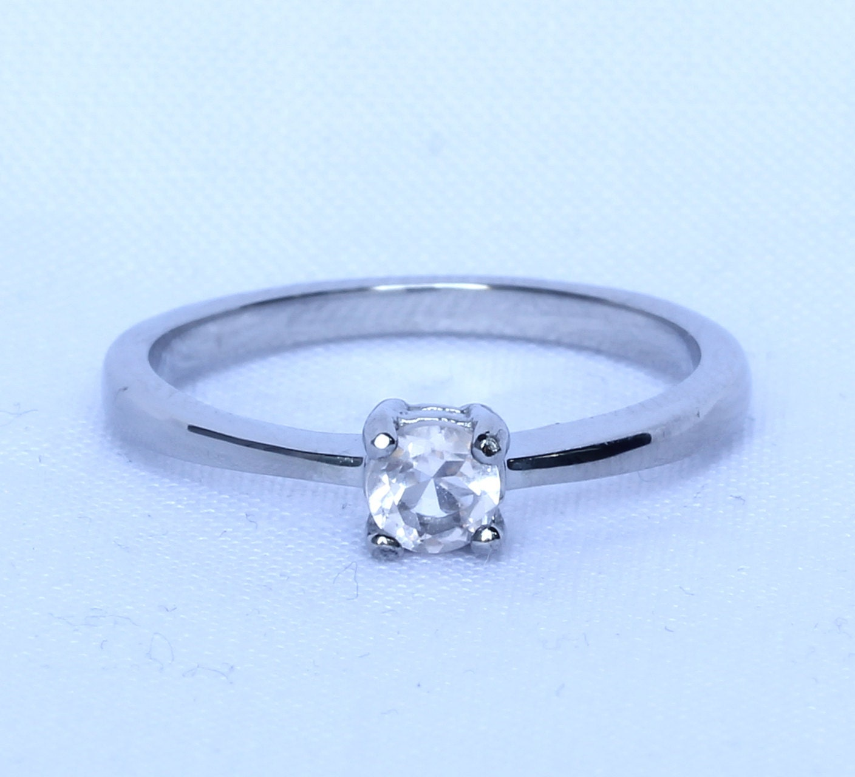 Rose quartz solitaire engagement ring in white gold or for Quartz wedding rings