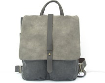 Gray Backpack, Heavy Cotton and Leather, Small Backpack, Rucksack
