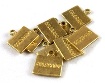 6x Engraved Brass Colorado State Charms - M057-CO