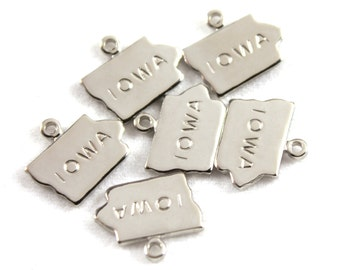 2x Silver Plated Engraved Iowa State Charms - M072-IA