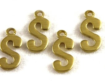"5x Letter ""S"" Brass Initial Charms - M071-S"