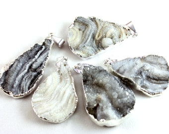 Assorted Silver Electroformed Agate Druzy Drop Pendants (1x) - N055