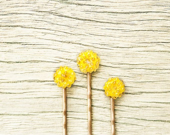 3 Yellow Glass Bobby Pins - Handmade OOAK
