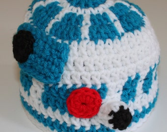 Crochet R2D2 hat.  Star Wars chatactor hats.  Baby/Infant-Adult sized Star Wars Inspired u