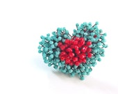 Heart Crystal Bouquet Ring-Turquoise (Luxury Handmade Ring)