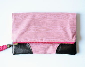 Metallic Woodgrain Fabric Fold Over Clutch with Leather Accent Corners, Pink Fold Over Bag, Leather Fold Over Clutch, Bridal Clutch Purse