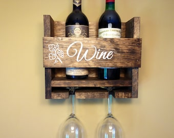 Wine Rack Personalized Custom Rustic 2 Bottle Wall Mount Wine Rack with 2 Glass Slot Holder, Wall Decor, vintage, Handmade