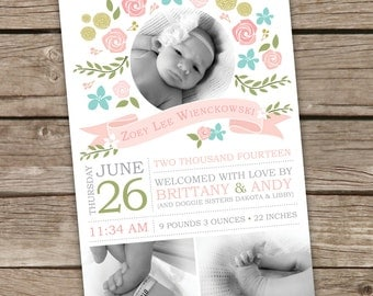 Printable Baby Girl Photo Birth Announcement - Floral -  4 x 6 - Pink, Green, & Turquoise