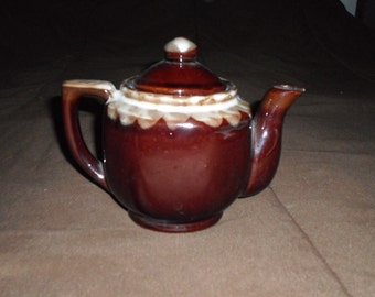 Brown Teapot with Cream Drip Design