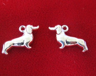 """8pc """"Dachshund"""" charms in antique silver style (BC319)"""