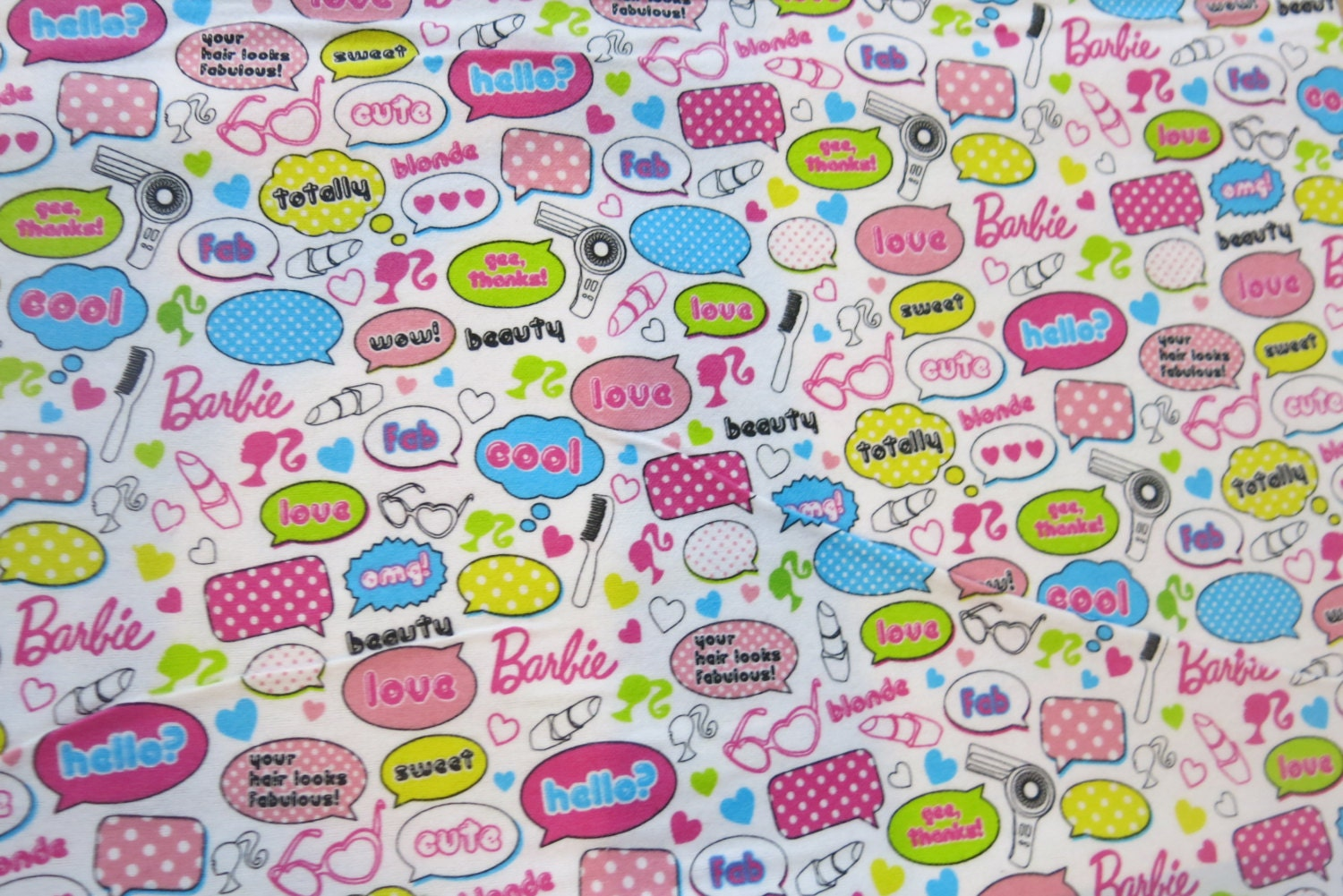 1 2 yard of 100 flannel barbie words fabric by