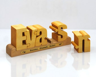 Personalized wooden name puzzle - an original and special family gift.