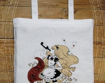 """Tote bag """"Drinke Me""""  ( Alice in Wonderland, white rabbit, gothic lolita )"""