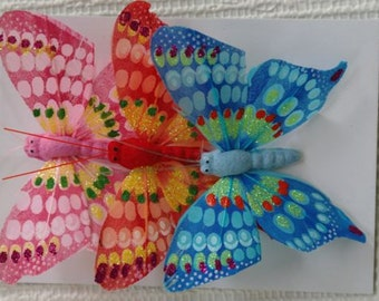 Butterflies, Toppers, Wire, Florists, Craft, Feathers. Set 3