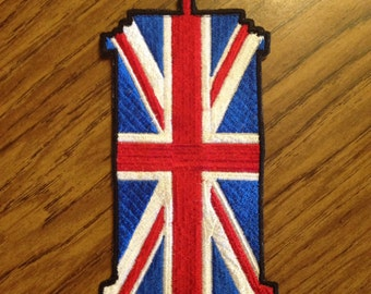 Tardis Union Jack 3.5x5.5in. Sew-on patch
