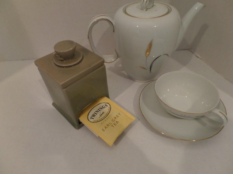 Vintage Ceramic Tea Bag Holder With Teacup Lid Tea Bags