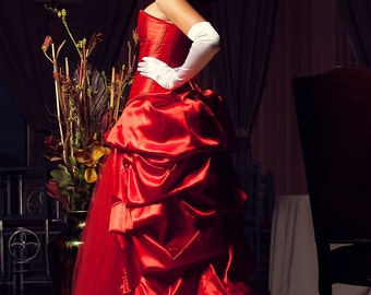 Custom Red Wedding Dress Prom Costume Evening Gown
