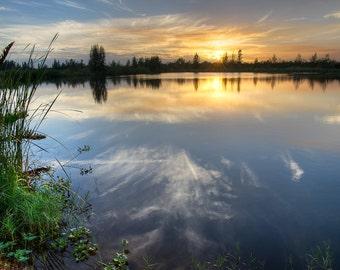 Slow Burn- Fine Art Landscape Photograph. A fiery autumn sunset in South Florida.