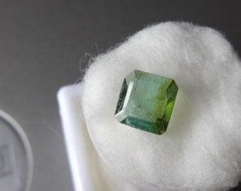 1.31 ct. Neon bluish green rare bi-col. Indicolite Brazil Tourmaline. Unheated, coveted Pariba green color knock-out gem.