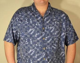 OP, Blue Hawaiian Shirt, Men's, XXL,Ocean Pacific