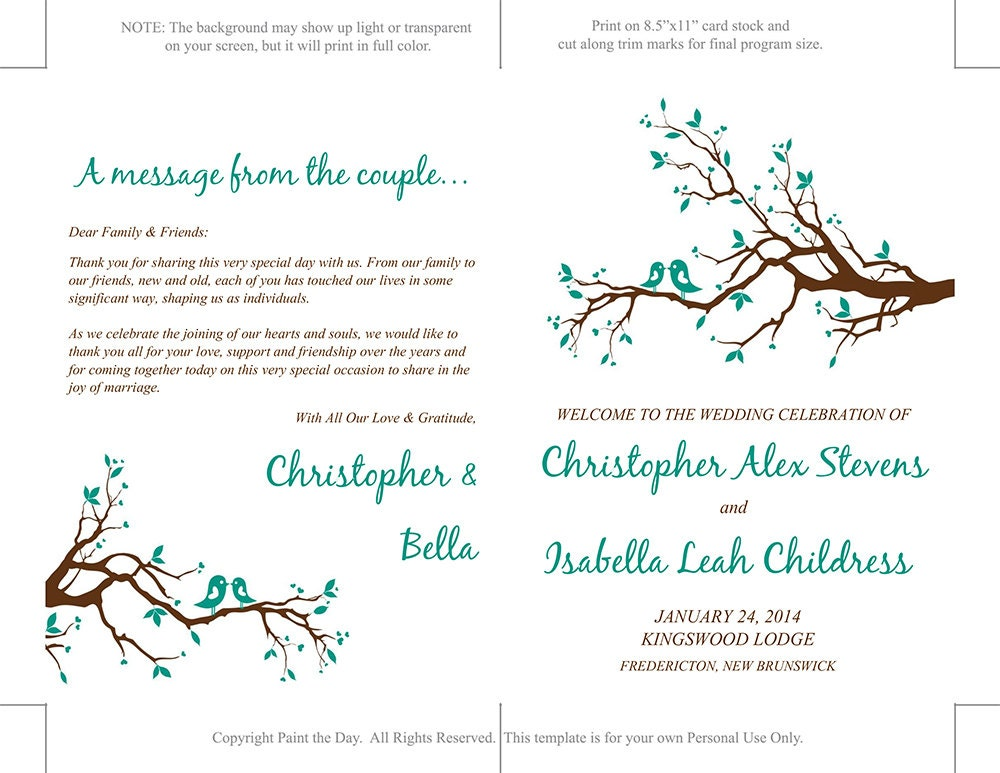 Half Fold Wedding Program Template Love By PaintTheDayDesigns