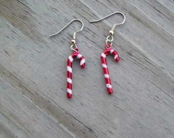 Candy Cane Earrings - Christmas Earrings - Red and White Candy Cane Earrings- Surgical Steel Fish Hook Earrings
