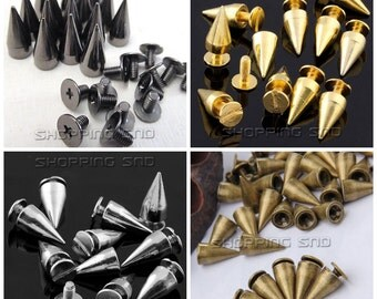 13mm Wholesale Cone Bullet Studs and spikes Metal Bronze / Silver / Gold / Black  FREE SHIPPING Worldwide for leather clothing