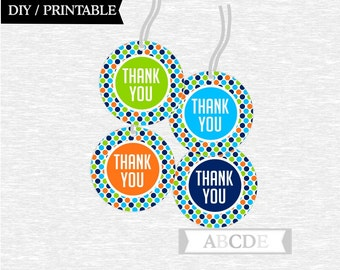 Instant Download  Thank You tags Birthday party DIY Printable (PDSDCH002)
