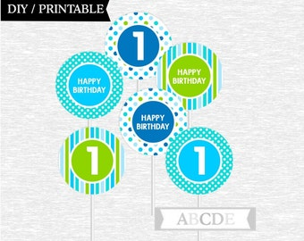 Instant Download Blue, Aqua, Lime green First birthday Cupcake Toppers Polka Dots 1st Birthday party toppers DIY Printable (PDMD008)