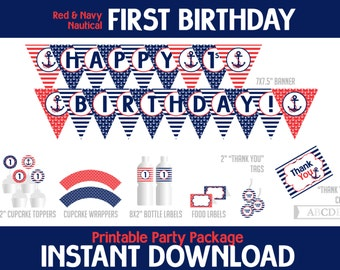 Instant Download Navy, Red Nautical First Birthday Package, Banner, Cupcake toppers and wraps, Thank You tags, cards, Food labels ( PDN008 )