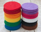 Set of 50 1.5 inch Felt Circles in Rainbow Colors
