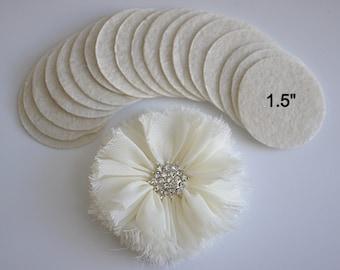 """25 Ivory Felt 1.5"""" Circles - 1.5"""" Felt Circles - Flower Backing - Ivory Felt Circles"""