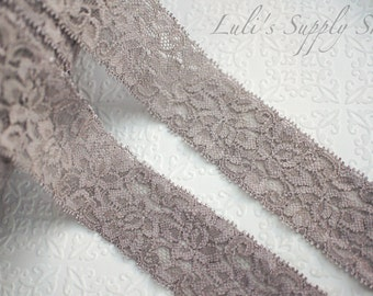 """Gray Elastic Lace -1.5"""" Elastic Lace - Lace Ribbon - Elastic by the yard - Shiny Elastic - Stretch Lace - Stretchy Gray Lace Trim"""