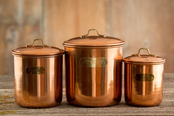 3 Vintage Copper Kitchen Canisters Coffee Tea And Sugar