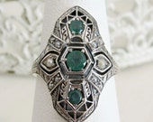 Sterling Silver Natural Emerald & Seed Pearl 3 Stone Victorian Filigree Ring Size 7.75, Antique Vintage Style