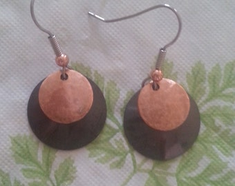 Copper Earrings with Sterling Silver Wires #22