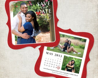 Elegant Save the Date Cards & Envelopes- 5x5 Die Cut in Red and White