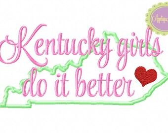 Kentucky Girls Do It Better Machine Embroidery Applique Design