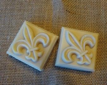 Handmade Square Fleur De Lis Soap