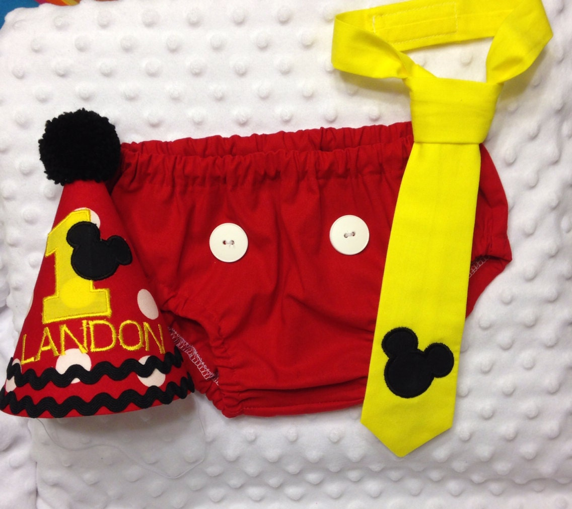 Boys Cake Smash Outfit Mickey Mouse Diaper Cover Tie