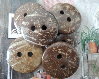 10Pcs 38mm Coconut button   Brown (W569)