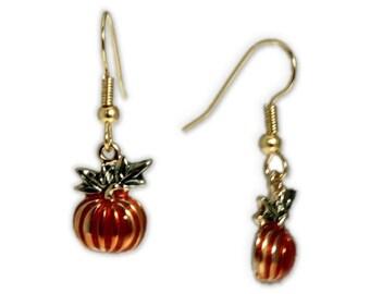 Bountiful Harvest Petite Pumpkin Earrings in Gold Tone, Celebrate Halloween, Autumn, Harvest, Christmas