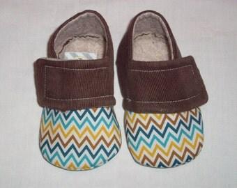 OWEN Multicolored Chevron Baby Boy Shoes. Multi Chevron. Brown