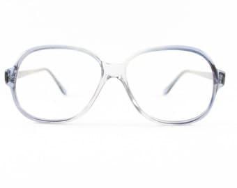 80s Vintage Glasses | Clear Grey Blue Eyeglass Frame | NOS 1980s Round Eyeglasses - Toronto